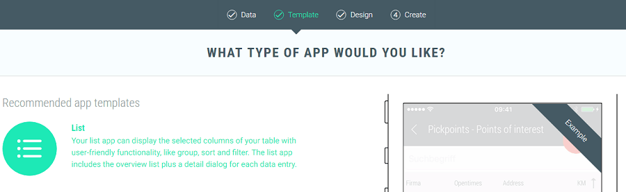 Choose Template for List App