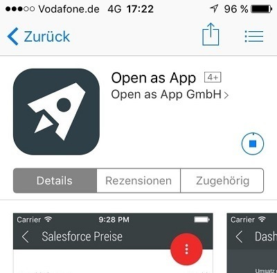 Screenshot of openasapp in the App Store