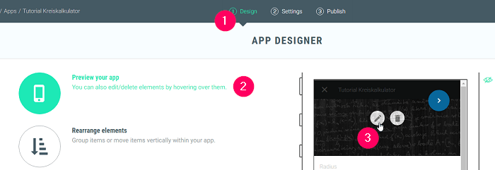 App Preview Editor für Header Zeile