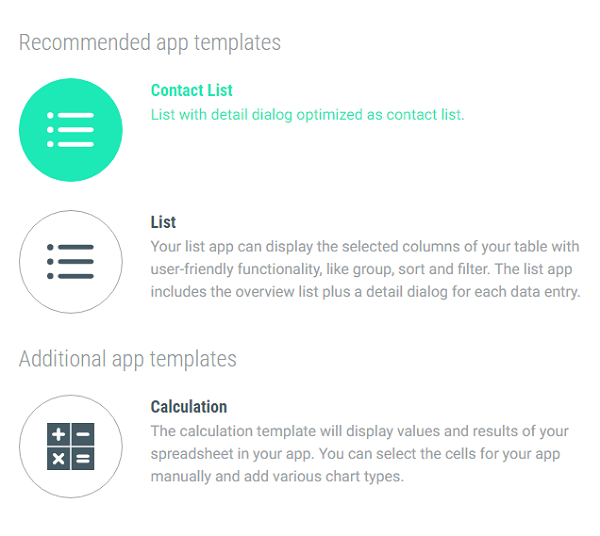 Template selection in the App Creator