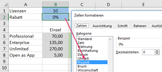 Format the cells in the Excel file